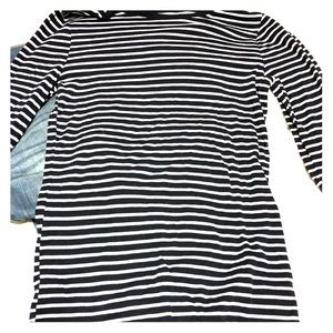 Long sleeved navy blue and white striped T-shirt